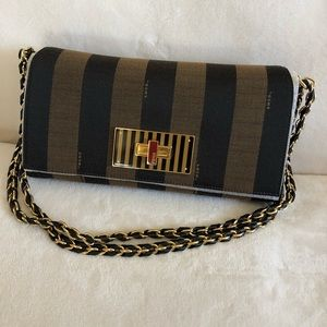 Claudia Vintage Striped Black and Gold Canvas bag